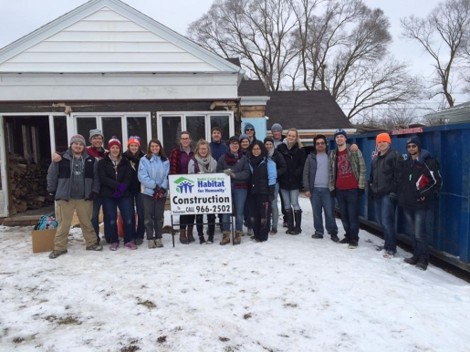 Albion College Campus Chapter at Battle Creek Habitat build site