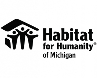 "Black text reading ""Habitat for Humanity"" with three figures underneath a roof"