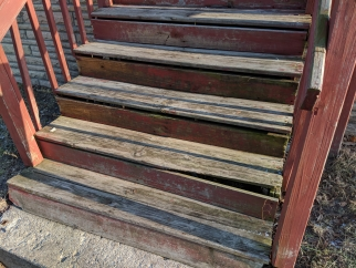 broken steps that need to be repaired for safety