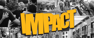 The conference theme Impact in yellow letters over black and white photos of people
