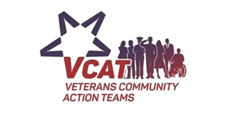 VCAT logo - blue and red star with silhouettes of veterans and service members