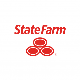"Red text reading ""State Farm"" with three ovals stacked in a pyramid beneath the text"